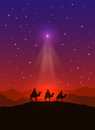 Christmas star and three wise men Royalty Free Stock Photo