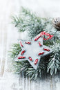 Christmas star wooden and spruce branch on a wooden background Royalty Free Stock Photography