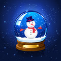 Christmas starry background with snow globe and snowman Royalty Free Stock Photo