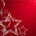 Christmas stars with bow on a red background Royalty Free Stock Photography