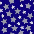Christmas stars white silver on dark blue night background seaml Royalty Free Stock Photo