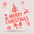 Christmas sticker with tree snowman deer bell and snowflake Stock Photo