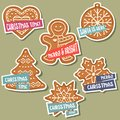 Christmas stickers collection with Christmas gingerbread and wis