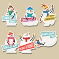 Christmas stickers collection with snowman