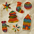 Christmas Stickers Design Elements Royalty Free Stock Photo