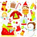 Christmas stickers, icons. Cute Santa elf, sleigh, snowman and other New Year holiday symbols in kawaii style. Big collection of Royalty Free Stock Photo