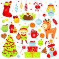 Christmas stickers, icons. Cute Santa elf, spruce, deer and other New Year holiday symbols in kawaii style. Big collection of isol Royalty Free Stock Photo