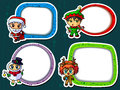 Christmas stickers wirh cute characters Stock Photography