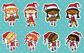 Christmas stikers cute set with girls Stock Photo