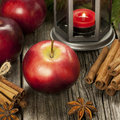 Christmas still life with apples composition lantern and Royalty Free Stock Photo