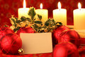 Christmas still life with blank card Royalty Free Stock Image