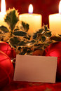 Christmas still life with blank card Stock Image