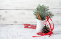 Christmas still life with branches of tree, pinecone and cinnamo Royalty Free Stock Photo