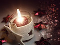 Christmas still life with candle and beauty bokeh Royalty Free Stock Photography