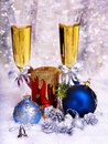 Christmas still life with champagne and candle. Stock Image