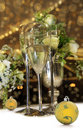 Christmas still life with champagne glasses Royalty Free Stock Photography