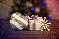 Christmas still life of gift boxes and ornaments for a tree Stock Images
