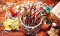 Christmas still life. homemade ginger biscuits, cane candy, on a Royalty Free Stock Photo