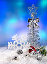 Christmas still life with snowflake. Royalty Free Stock Image