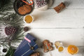 Christmas still life on the white wooden table top view Royalty Free Stock Photo