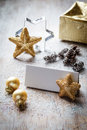 Christmas still life on wood, place card, copy space Royalty Free Stock Photo