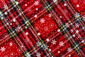 Christmas stocking background texture pattern made from holiday fabric red flannel and snowflakes Stock Images