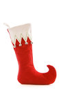 Christmas stocking cute with bells standing up isolated on a white background Royalty Free Stock Photography