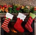 Christmas stocking on fireplace background Royalty Free Stock Photos