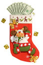 Christmas Stocking Full of Money Royalty Free Stock Images