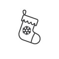Christmas stocking line icon, outline vector sign, linear pictogram isolated on white. logo illustration