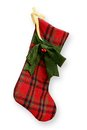 Christmas stocking red felt isolated Stock Images
