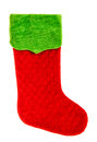 Christmas stocking. Red green sock. Winter holidays symbol Royalty Free Stock Photo