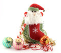 Christmas stocking with santa claus conceptual image about decoration baubles and ribbon on white Stock Photography