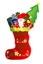 Christmas Stocking with Santa and gifts Royalty Free Stock Photo