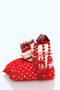Christmas stocking stuffed with Christmas gifts Royalty Free Stock Photo