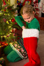 Christmas stocking surprise Stock Images
