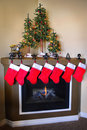 Christmas Stockings and Fireplace Stock Photography