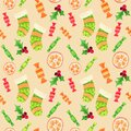 Christmas stockings pattern yellow background Royalty Free Stock Photo