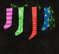 Christmas stockings whimsical illustration of colorful and holly Stock Photography