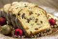 Christmas stollen with several ingredients selective focus traditional raisins cake for anise cinnamon and dried fruits Stock Photography
