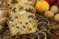 Christmas stollen with several ingredients traditional raisins cake for anise cinnamon and dried fruits Royalty Free Stock Photos