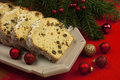 Christmas stollen with several ingredients traditional raisins cake for anise cinnamon and dried fruits Stock Image