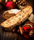 Christmas stollen traditional sweet fruit loaf Stock Photo