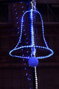 Christmas street  decoration, neon Bell and Bauble Royalty Free Stock Photo