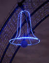 Christmas street  decoration, neon Bell Royalty Free Stock Photo