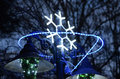 Christmas street  decoration, neon snowflake Royalty Free Stock Photo