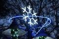 Christmas street  decoration, neon snowflake Royalty Free Stock Photo