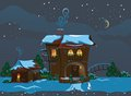 Christmas street illustration of the with a house and snowman Royalty Free Stock Image