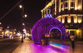 CHRISTMAS STREET, LIGHTINGS IN OLD TOWN, WARSAW, POLAND. Royalty Free Stock Photo