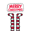 Christmas striped socks holiday postcard card vector Royalty Free Stock Photo